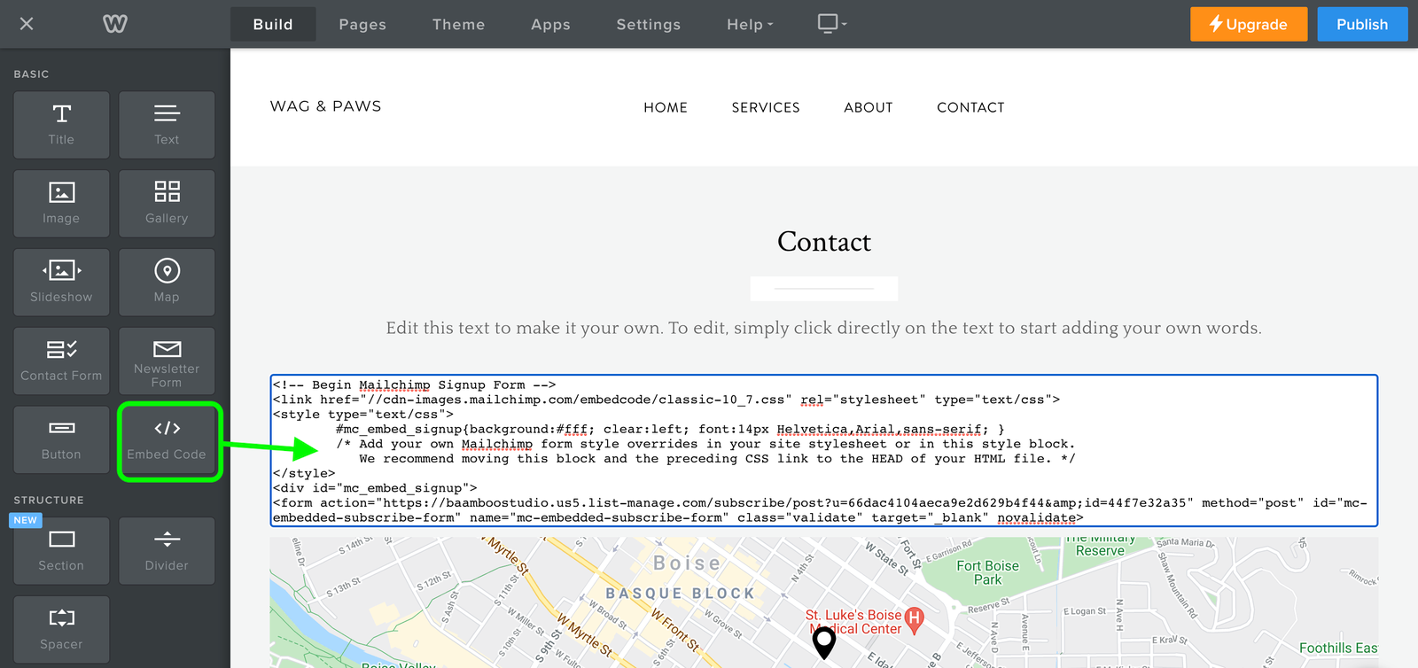 Step 3 - Paste the embedded code into a Weebly page