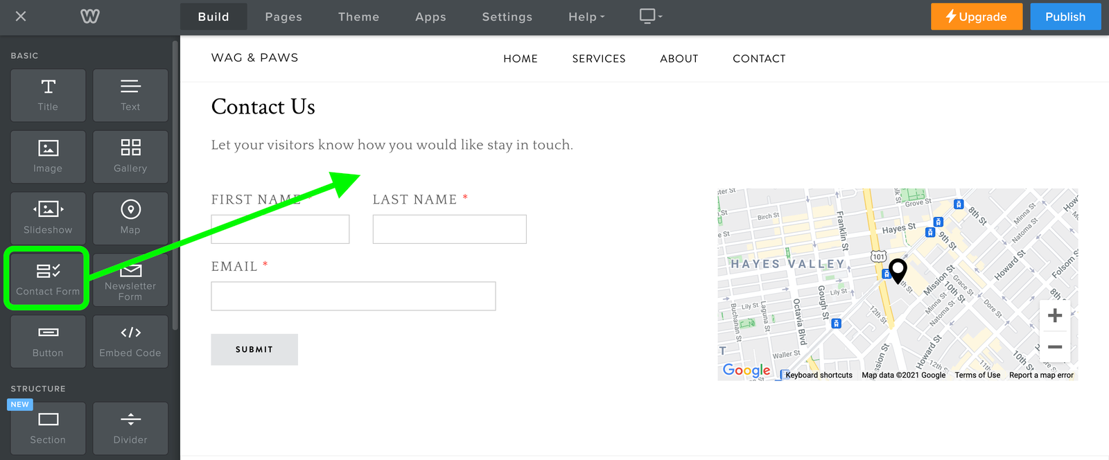 Weebly Contact Form Element