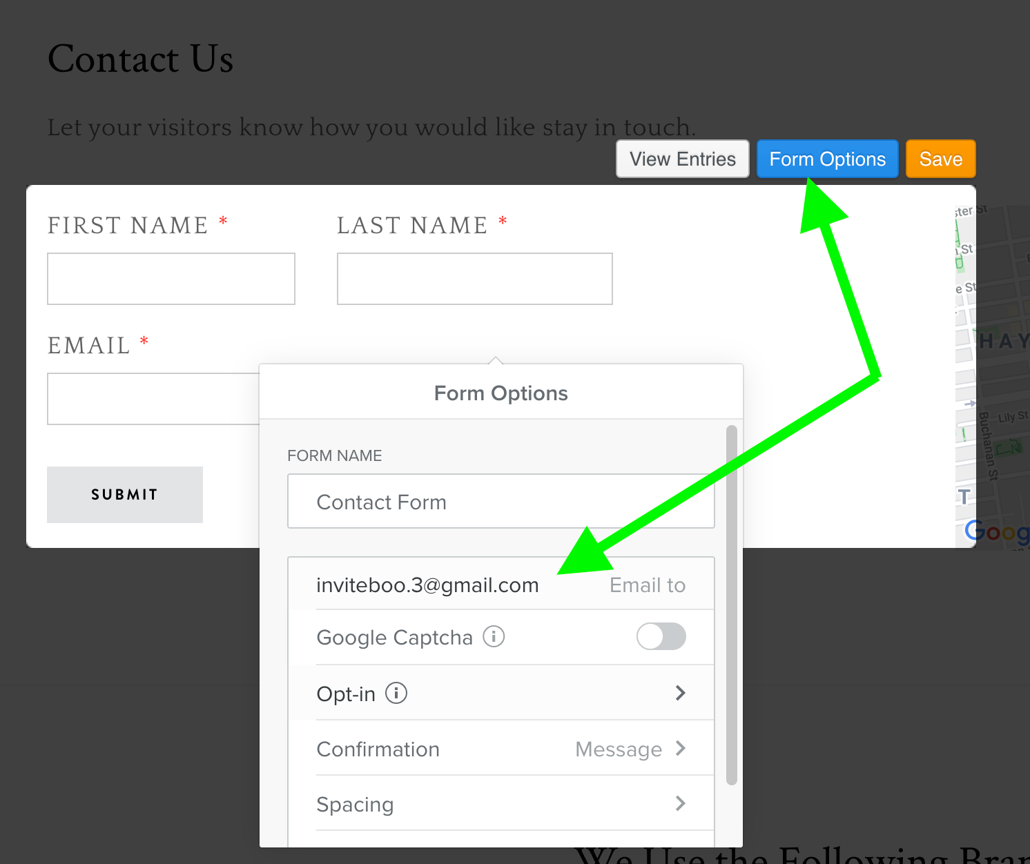 Weebly Form Options